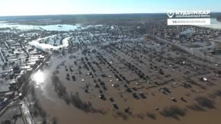 паводок в Кудымкаре, съёмка с воздуха 18 04 2016