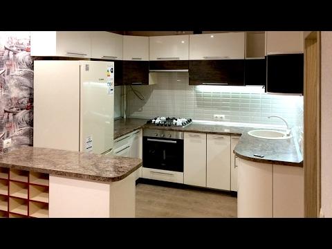 П-образная кухня с барной стойкой, стиральной машиной и посудомойкой — Кухни на заказ