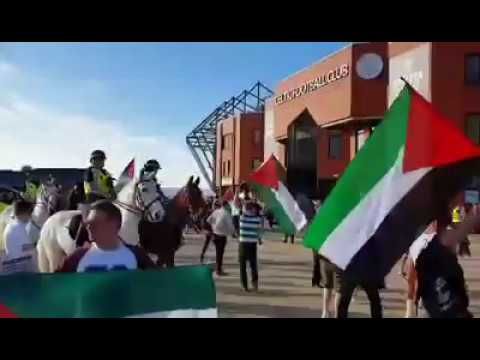 Pro-Palestine Celtic fans confront Israeli fans at Parkhead | subscribe and share