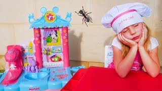 Nastya and papa pretend play Kitchen Restaurant Toy Cooking Food