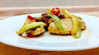 Острая курочка с кабачком и грибами. Легкие рецепты. #супербатя на кухне