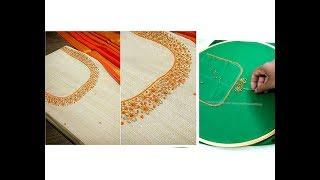 Zardosi French knot Neck Design Churidar/Kurti/Blouses - Simple & Easy Making| Aari /Maggam work