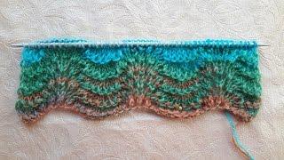 Вязание спицами!Узор АЖУРНЫЕ ВОЛНЫ.Для начинающих..ne,.knitting