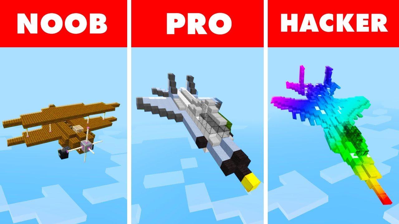 Minecraft NOOB vs. PRO vs. HACKER : RAINBOW LUXURY JET PLANE CHALLENGE in Minecraft!