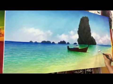 การเขียนรูปวิวทะเลด้วยสีน้ำมัน โดย ซี cee 🎨🎨🎨✌️