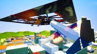 BOEING 787 CRASHES INTO GIANT SKY BASE OVER BRICKSVILLE - Brick Rigs Multiplayer Gameplay w/Blitz