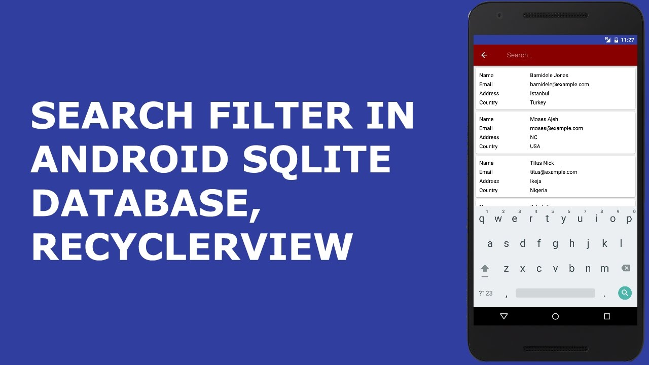 SEARCH FILTER IN ANDROID SQLITE DATABASE AND RECYCLERVIEW