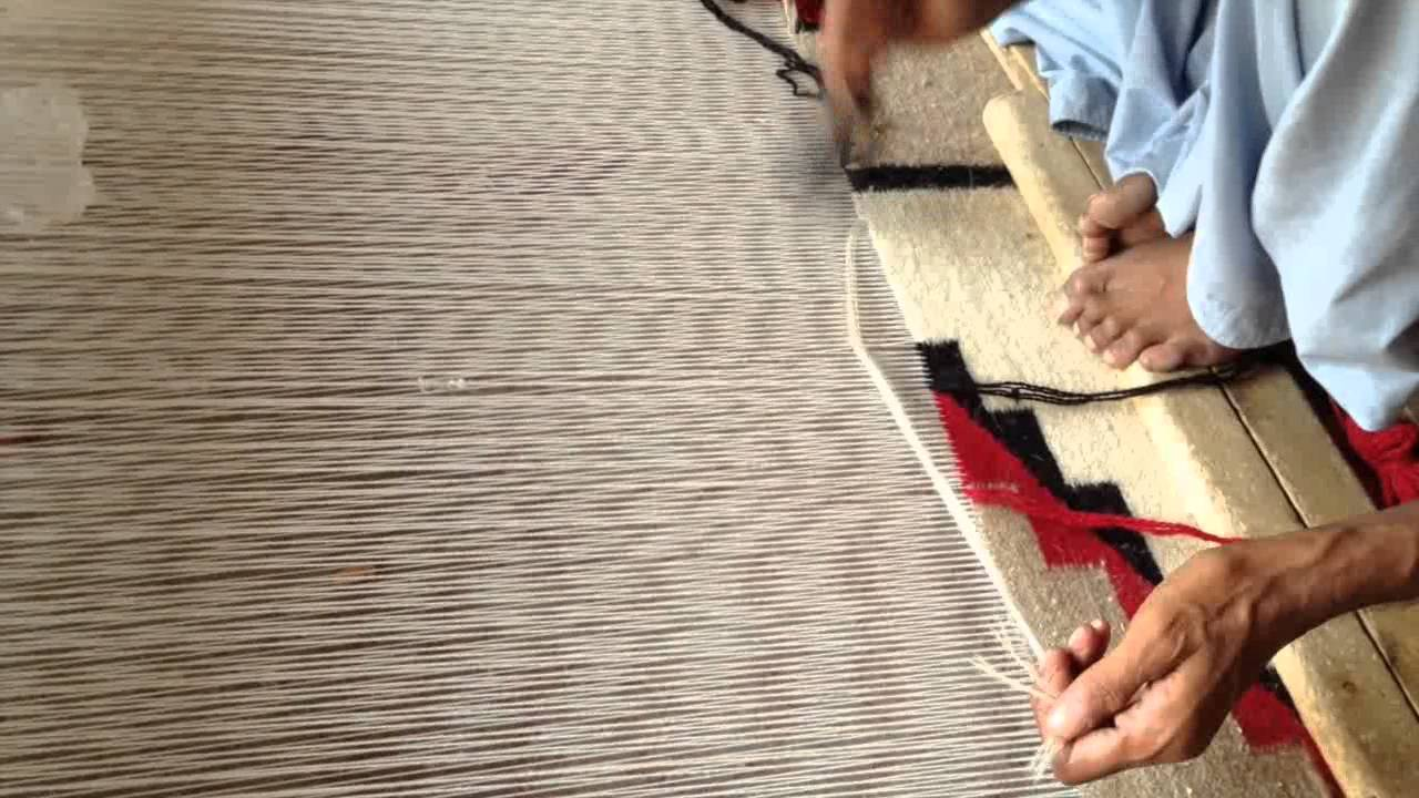 Navajo Design Rugs Being Hand Woven In