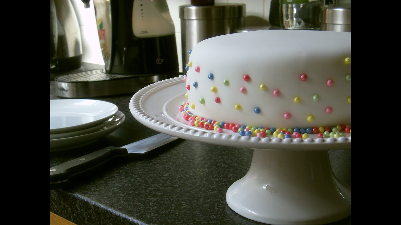 How to cover a cake with fondant & simple decoration with ...