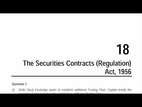 CA Final Corporate and Allied Laws - The Securities Contract (Regulation) Act, 1956