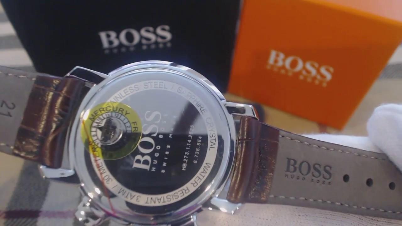 e9e9ed172c4 Men s Hugo Boss Swiss Made Brown Italian Leather Chronograph Watch 1513263