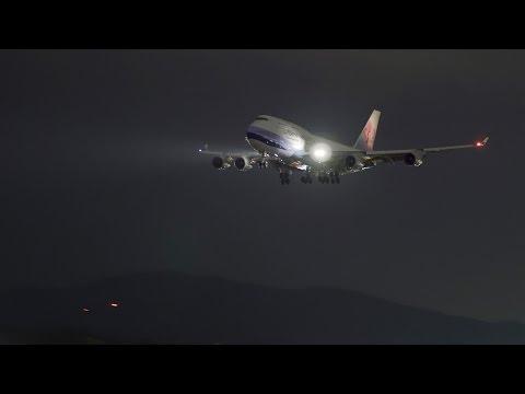 福岡空港 Night Plane Spotting : Visual Approach, Landing & Takeoff @ Fukuoka Airport