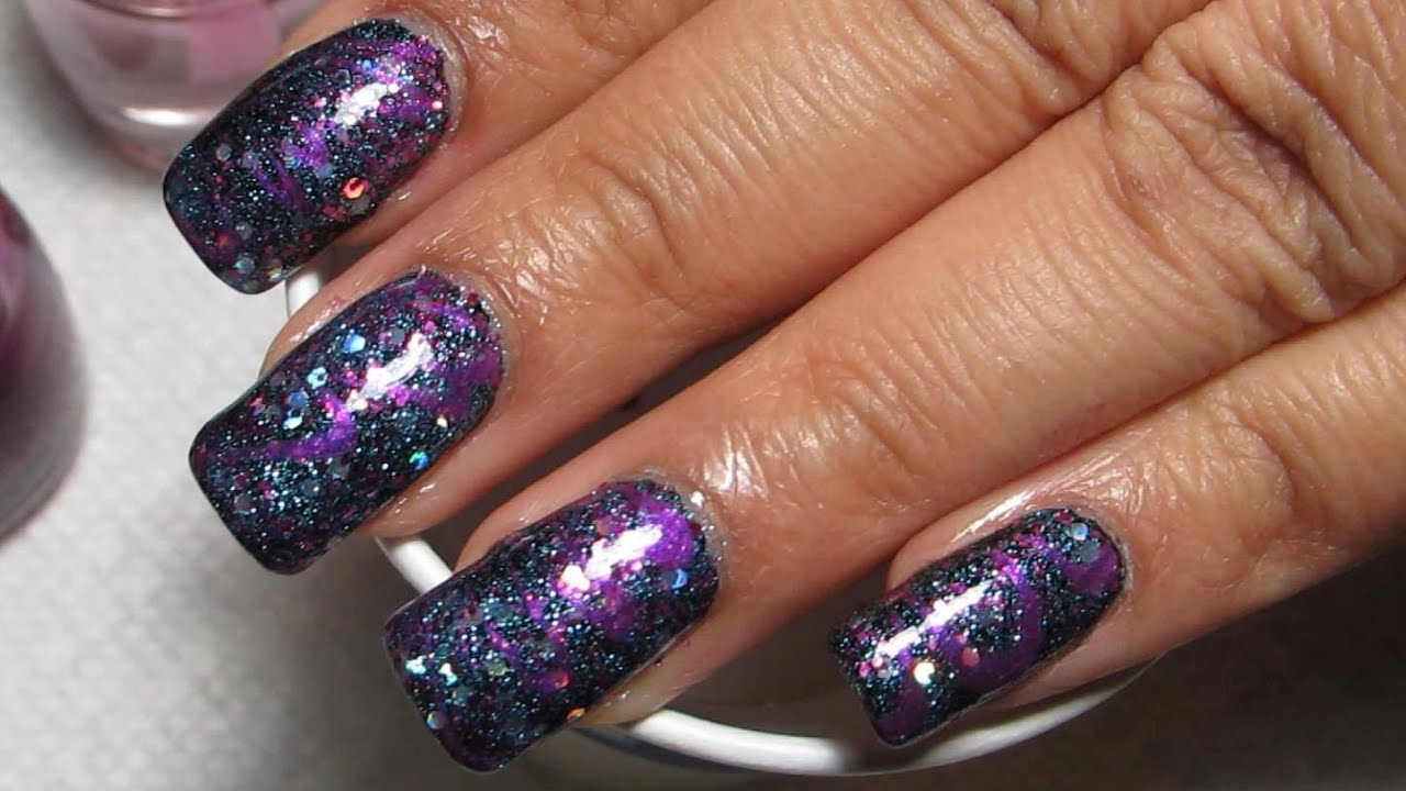 Glitter And Purple Water Marble Nail Art Tutorial Water Marble