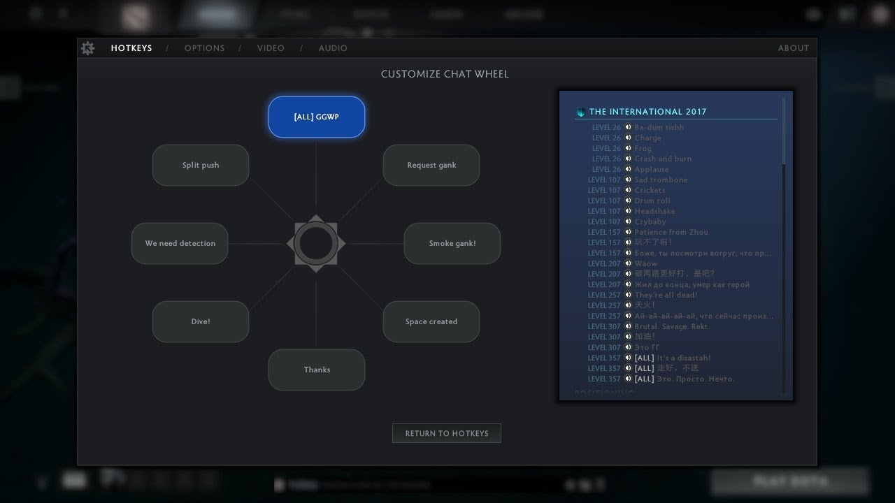 dota 2 all chat wheel sounds battle pass 2017 youtube