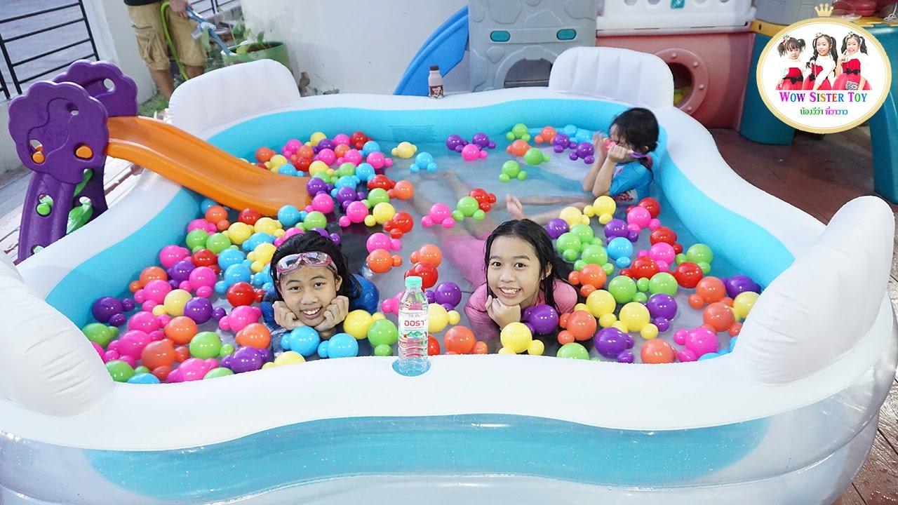 รีวิว สระน้ำเป่าลม ใหญ่มาก‼️ ช่วงปิดเทอม Huge Swimming Pool | น้องวีว่า พี่วาวาว
