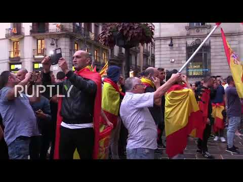 Spain: Unionists tear Catalan banner to pieces as rally against referendum in Barcelona