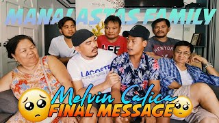 Ang Sakit Panoorin! IT'S TIME TO SAY GOODBYE! KUYA MELVIN! MAMIMISS KA NG MANALASTAS FAMILY!