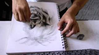 Drawing a 7 minute Zombie with vine charcoal