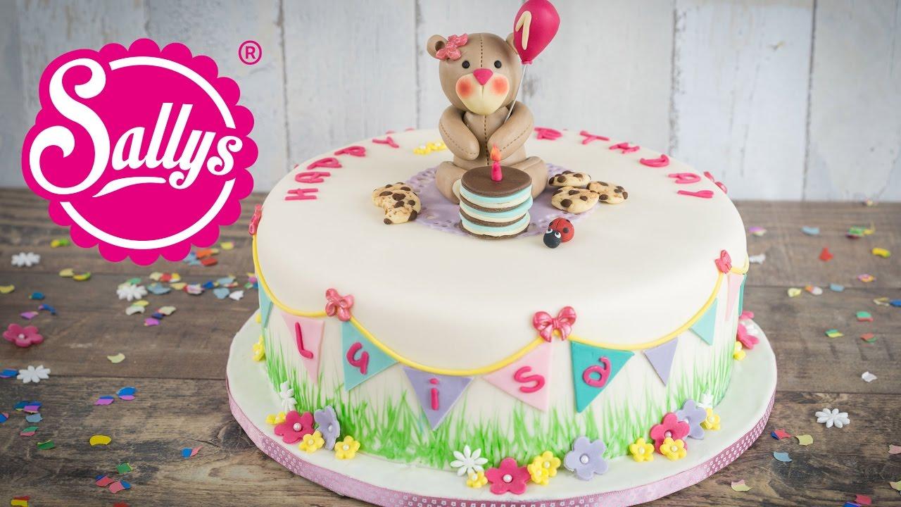 Kinder Geburtstagstorte mit Teddy  fruchtige Vanilletorte