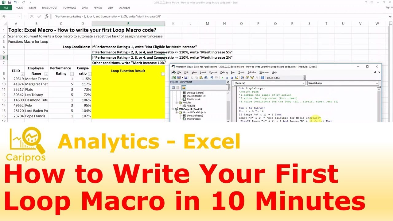 Excel Macro   How to Write Your First Loop Macro