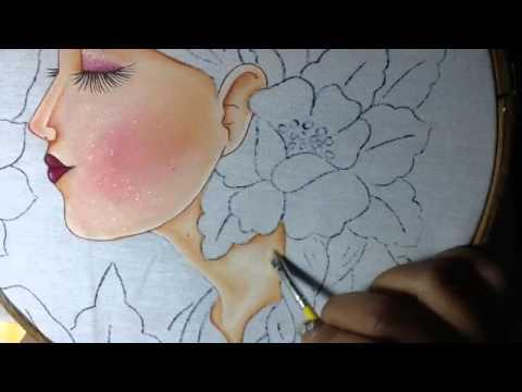 Pintura en tela rostro con flores # 2 con cony - YouTube