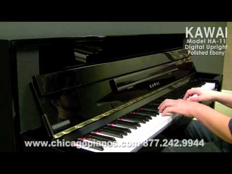 used kawai ha 11 digital upright piano in chicago polished ebony real wood action youtube. Black Bedroom Furniture Sets. Home Design Ideas
