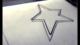 How To Draw 3D Simple Floating Star - Drawing 3D Floating Star