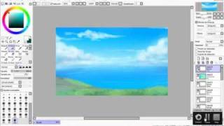 drawing a background with paint tool Sai