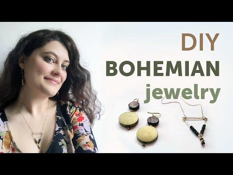 DIY Bohemian Jewelry   Wood Earrings & Wire Triangle Necklace Tutorial