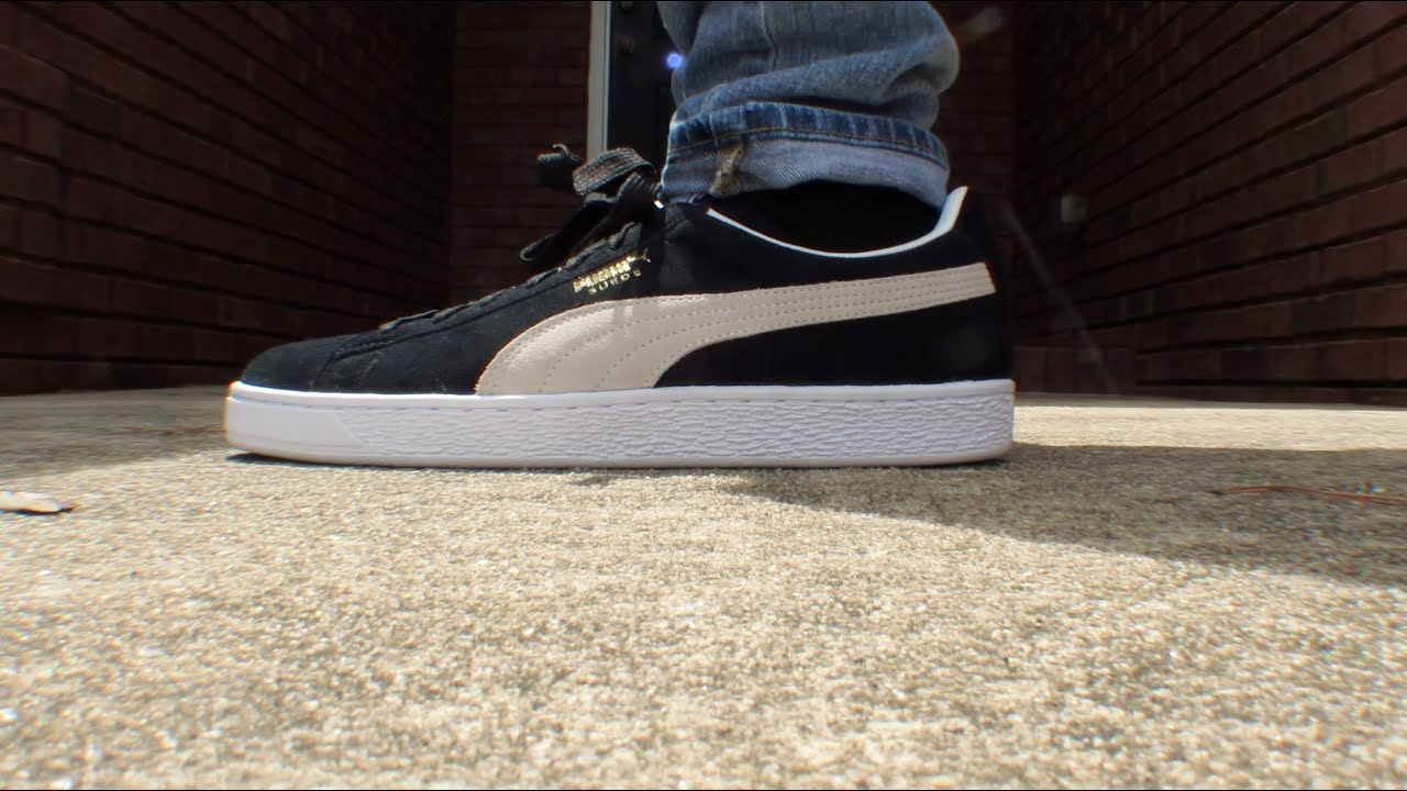 huge discount 40aa1 7bd6a PUMA SUEDE CLASSIC BLACK REVIEW W/ ON FEET