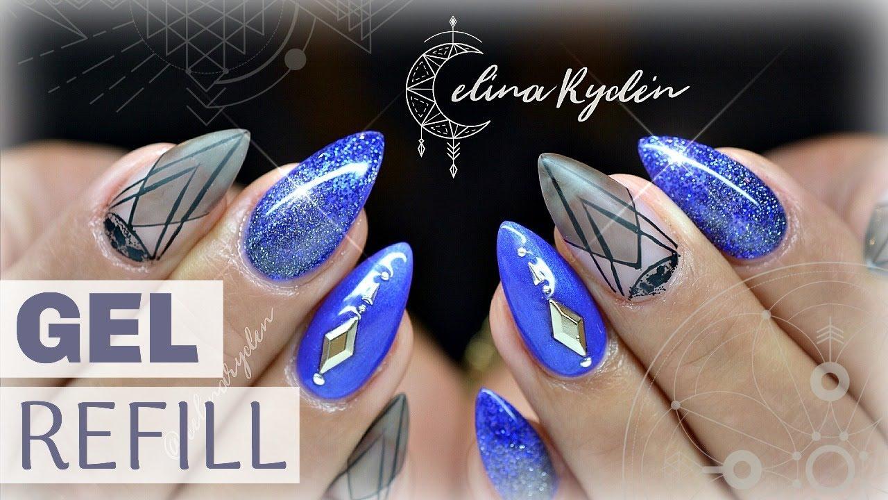 TUTORIAL | BLUE NAILS | GEL REFILL - YouTube