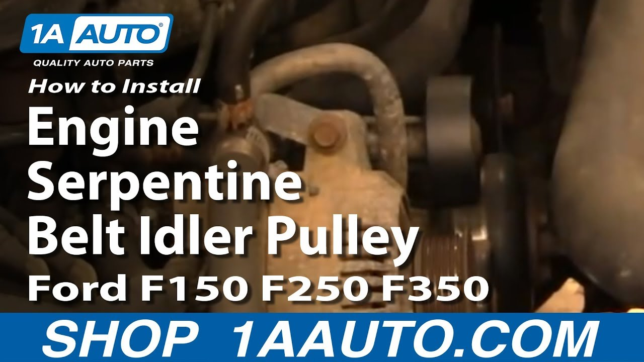 how to install replace engine serpentine belt idler pulley ford how to install replace engine serpentine belt idler pulley ford f150 f250 f350 92 96 1aauto com