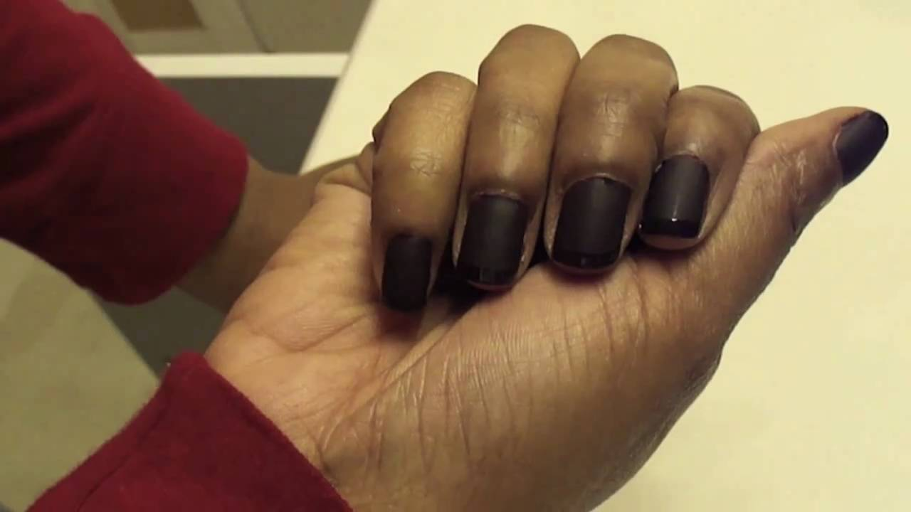 Kim Karadashian Inspired: Brown Matte Nails w/Glossy Tips - YouTube