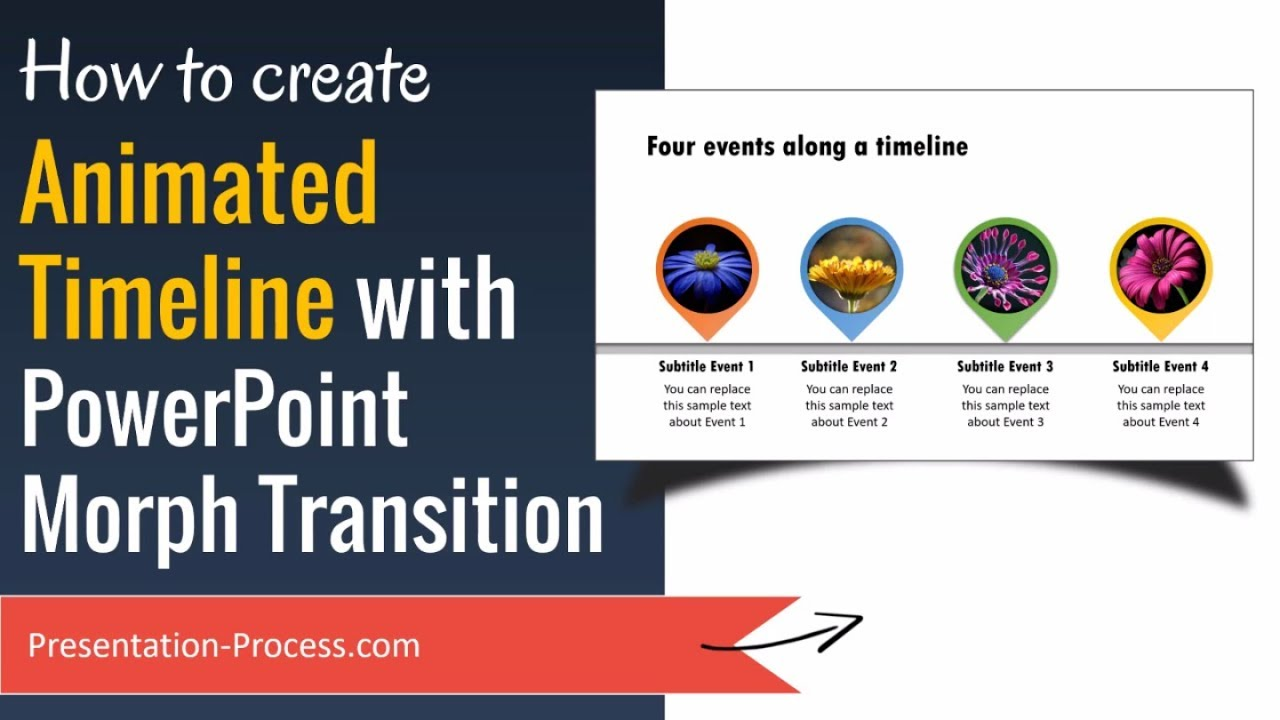 create animated timeline with morph transition powerpoint 2016