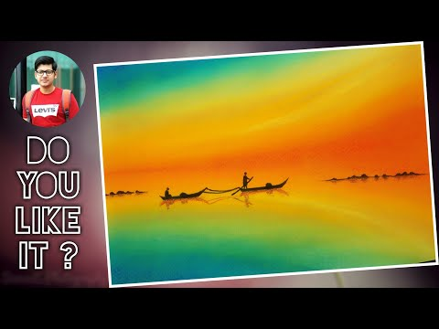 sunset scenery painting for beginners with soft pastel