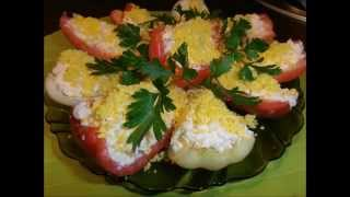 Лодочки из болгарского перца с  плавленным сыром