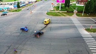 Car Accident Caught On Drone Camera in Ulyanovsk Russia