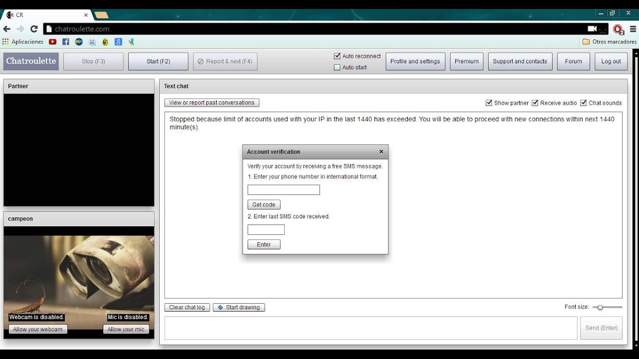 chatroulette phone verification