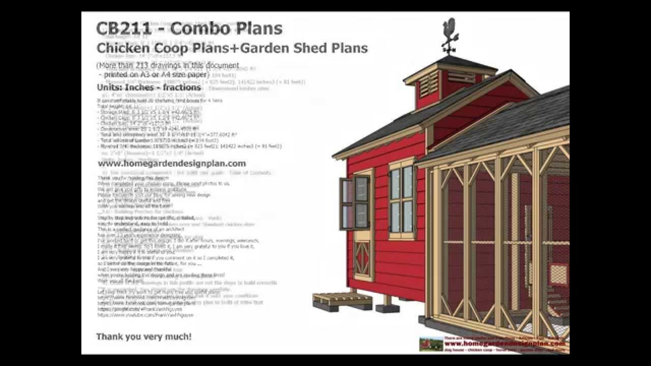 cb211 combo chicken coop garden shed plans chicken coop plans storage shed plans construction youtube - Chicken Co Op Plans And Greenhouse