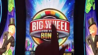 Monopoly Millionaire slot with Big Wheel Bonuses! The bonus wheel is broken! 😡😱🐼