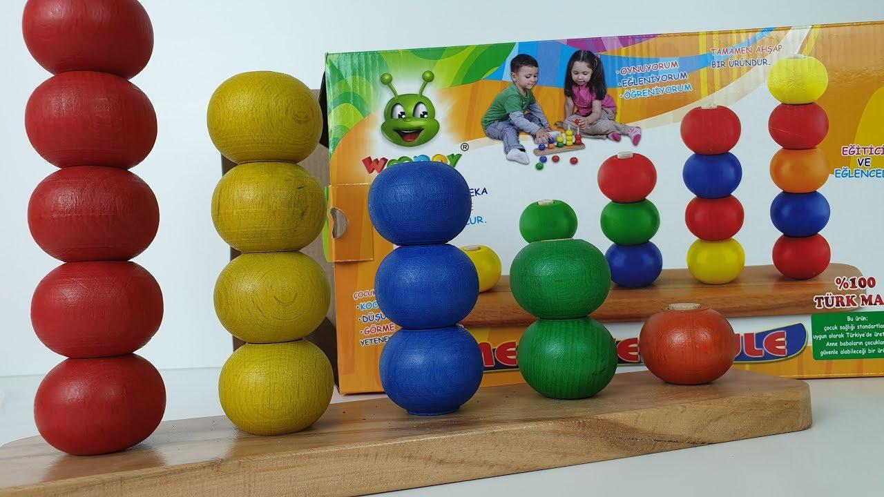Woodoy Merdiven Kule İnanılmaz eğitici ahşap bloklar hem renkleri hem sayıları öğreten oyuncak