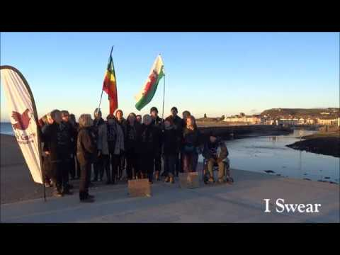 Côr Gobaith sing in support of Standing Rock Aberystwyth Harbour (10 December 2016)