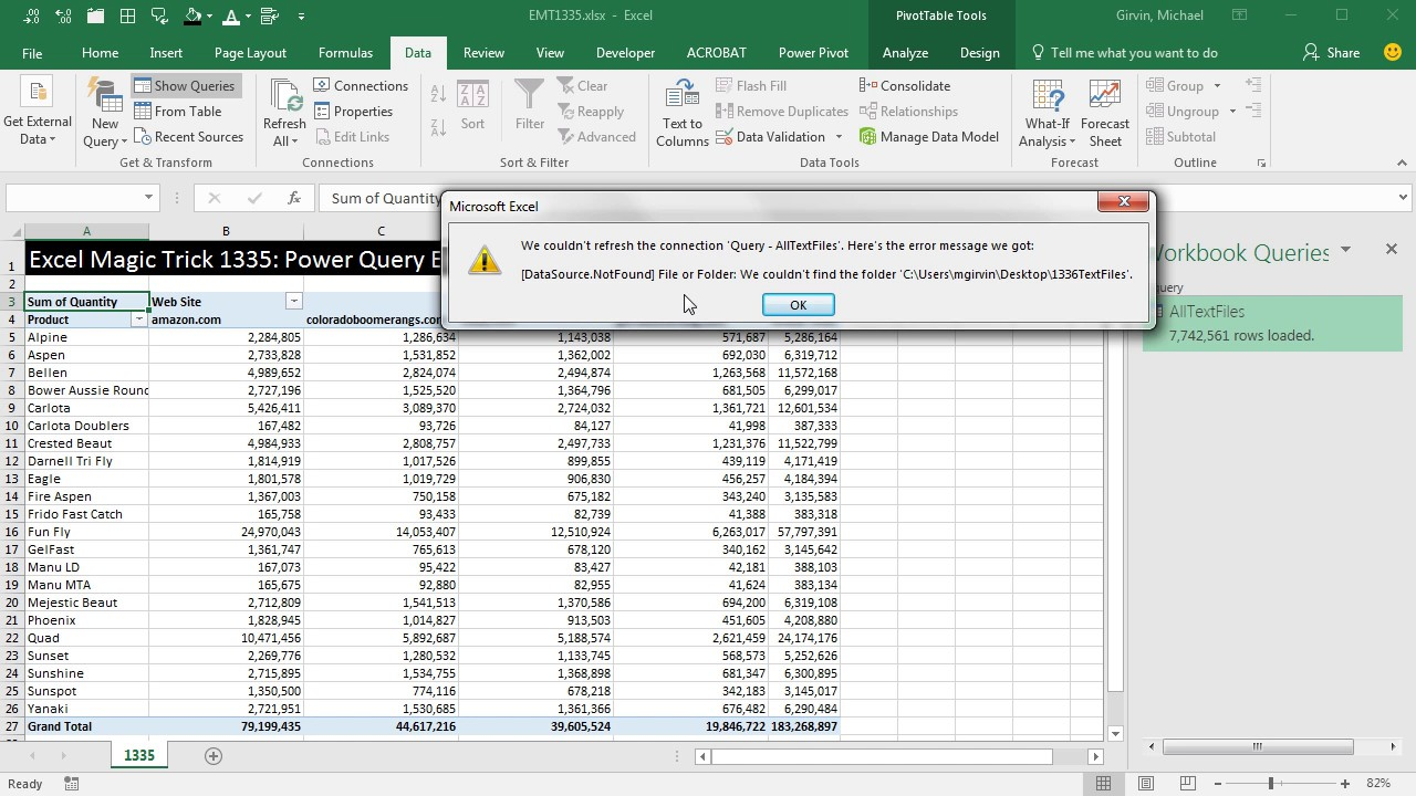 Excel Magic Trick 1335: Power Query We Couldn't Refresh The Connection Data  Source Not Found Error