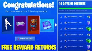 Fortnite FREE REWARDS are Coming back... (14 Days of Fortnite Challenges)