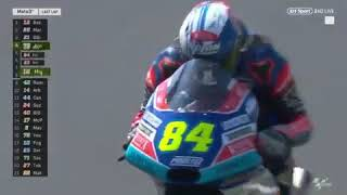 Moto3 rider Jakub Kornfeil JUMPS over fallen bike 20-05-2018