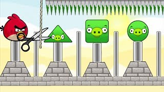 Angry Birds Pigs Out - CUT THE ROPE TO KICK ROUND AND SQUARE PIGS!