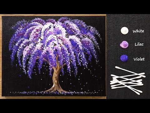 Easy Wisteria Acrylic Painting For Beginners - Simple Cotton Swabs Painting Technique #497