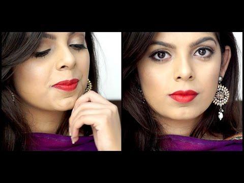 Indian Festive Makeup   Golden Smokey Eye + Red Lips   Diwali Makeup Tutorial 2016