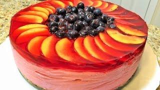 ТОРТ БЕЗ ВЫПЕЧКИ. Фруктово-ягодный ТОРТ -СУФЛЕ  со сливками. (No- Bake Mousse Cake )
