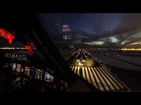 Boeing 777-300ER Cockpit Landing at New York John F. Kennedy International Airport